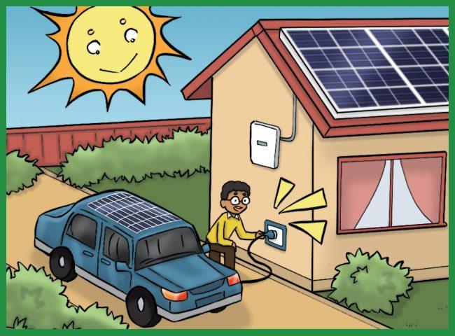 Autó töltése napelemről